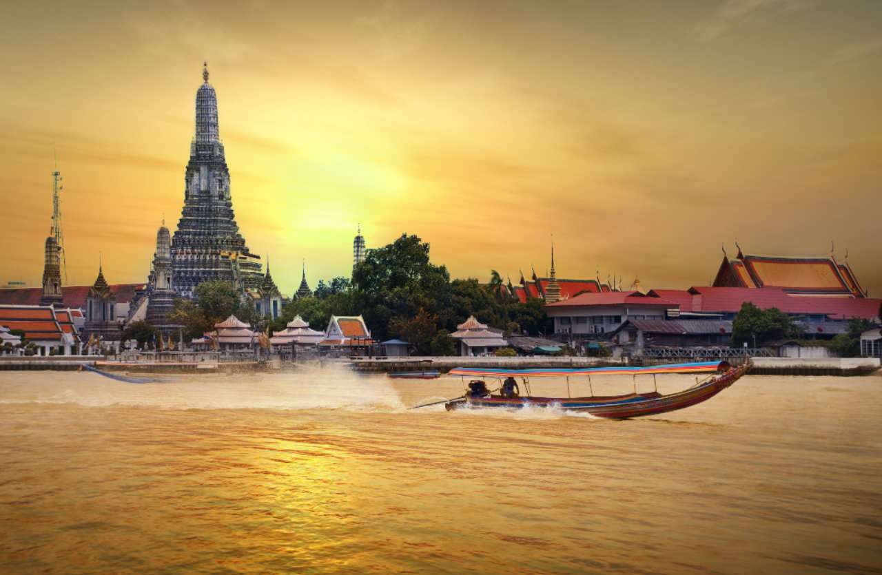Boat in front of the thai skyline